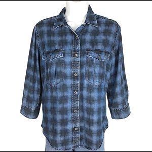 H&M plaid 3/4 sleeve button down shirt